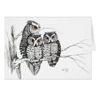 Screech Owl Family 2 Card in ink