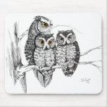 Screech Owl Family Mousepad