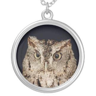Screech Owl Round Pendant Necklace