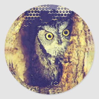 SCREECH OWL ROUND STICKERS
