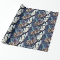 Screech Owl Winter Night Wrapping Paper
