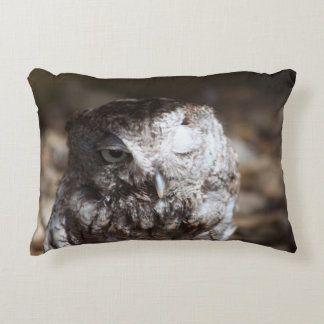 Screech Owl with One Eye Open Accent Pillow