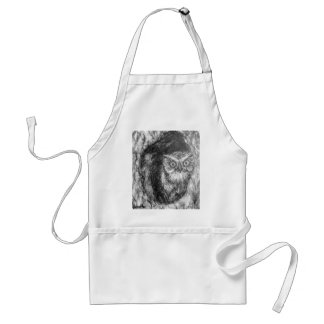 Screech Owls Owl Charcoal Black & White Drawing Adult Apron