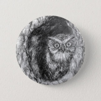 Screech Owls Owl Charcoal Black & White Drawing Button