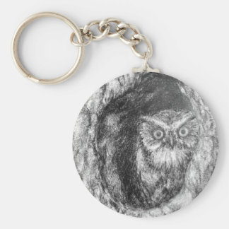 Screech Owls Owl Charcoal Black & White Drawing Keychain