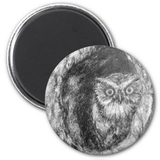 Screech Owls Owl Charcoal Black & White Drawing Magnet