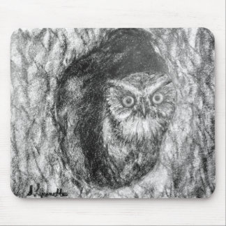 Screech Owls Owl Charcoal Black & White Drawing Mouse Pad