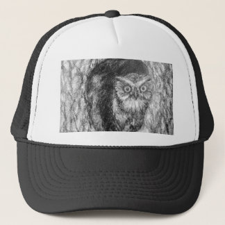 Screech Owls Owl Charcoal Black & White Drawing Trucker Hat
