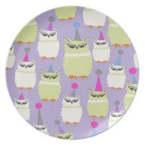Screech Owls Plate in Grape