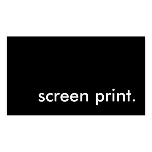 screen print. business card template