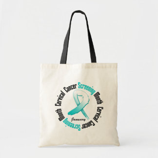 Screening Month January Ribbon - Cervical Cancer Canvas Bags