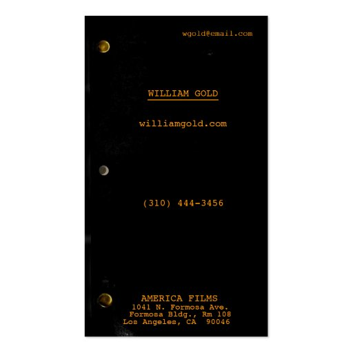 Screenplay Black Business Card