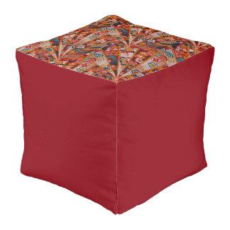Screens Oriental Fabric Cube Pouf