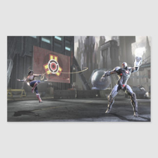 Screenshot: Wonder Woman vs Cyborg 2 Rectangular Sticker