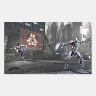 Screenshot: Wonder Woman vs Cyborg 2 Rectangular Sticker
