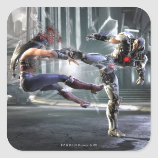 Screenshot: Wonder Woman vs Cyborg Square Sticker