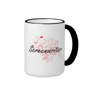 Screenwriter Artistic Job Design with Butterflies Ringer Mug