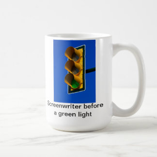 Screenwriter before a green light coffee mug