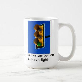Screenwriter before a green light coffee mug
