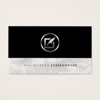 Screenwriter Bold Silver Quill Paper Icon Elegant Business Card