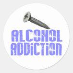 Screw Alcohol Addiction Light Blue Round Sticker