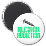 Screw Alcohol Addiction Light Green Refrigerator Magnet