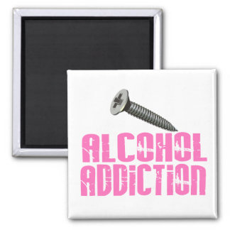 Screw Alcohol Addiction Pink Refrigerator Magnets