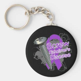 Screw Alzheimers Disease Basic Round Button Keychain