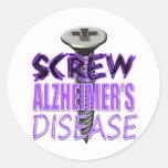 Screw Alzheimer's Disease Classic Round Sticker