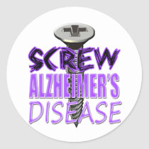 Screw Alzheimer's Disease Classic Round Sticker