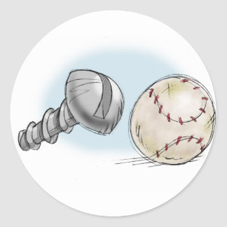 screw ball classic round sticker