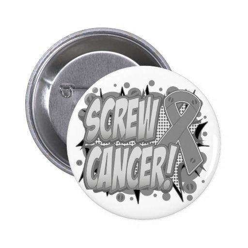 Screw Brain Cancer Comic Style Pinback Button