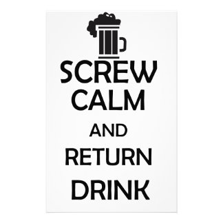 screw calm and return drink stationery