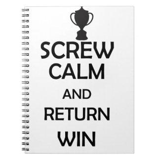 screw calm and return win spiral note book
