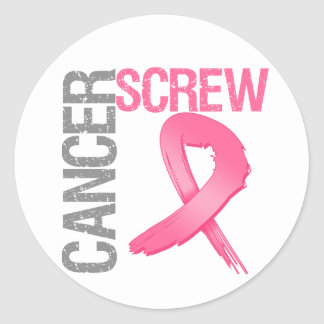 Screw Cancer - Breast Cancer Classic Round Sticker