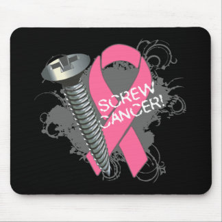 Screw Cancer - Grunge Breast Cancer Mouse Pad