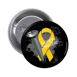 Screw Cancer - Grunge Childhood Cancer Pinback Button