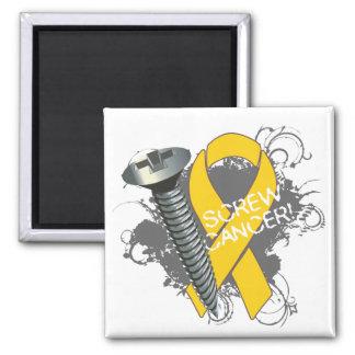 Screw Cancer - Grunge Childhood Cancer Refrigerator Magnets