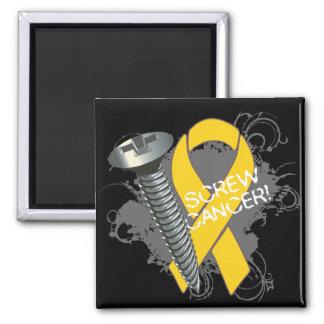 Screw Cancer - Grunge Childhood Cancer Magnet