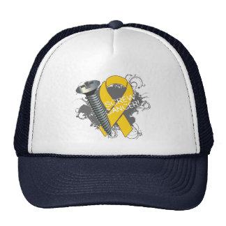 Screw Cancer - Grunge Childhood Cancer Mesh Hats