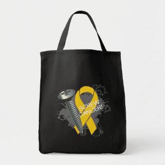 Screw Cancer - Grunge Childhood Cancer Tote Bag