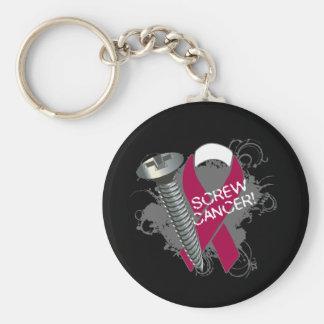 Screw Cancer - Grunge Head and Neck Cancer Basic Round Button Keychain