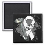 Screw Cancer - Grunge Lung Cancer Magnet