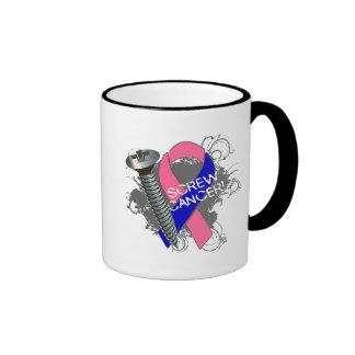 Screw Cancer - Grunge Male Breast Cancer Ringer Coffee Mug