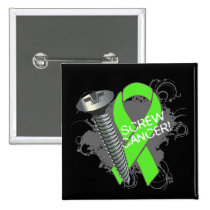 Screw Cancer - Grunge Non-Hodgkins Lymphoma 2 Inch Square Button