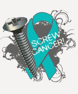 Screw Cancer - Grunge Ovarian Cancer T Shirt