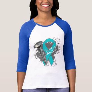 Screw Cancer - Grunge Ovarian Cancer T-Shirt