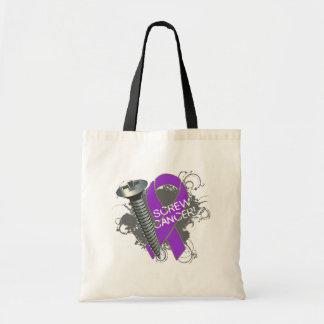 Screw Cancer - Grunge Pancreatic Cancer Bags