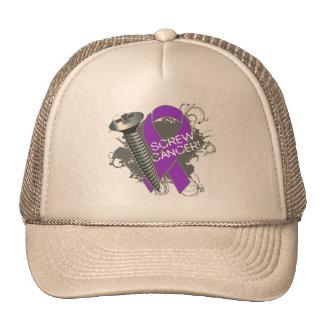 Screw Cancer - Grunge Pancreatic Cancer Hats