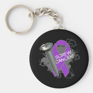 Screw Cancer - Grunge Pancreatic Cancer Key Chain